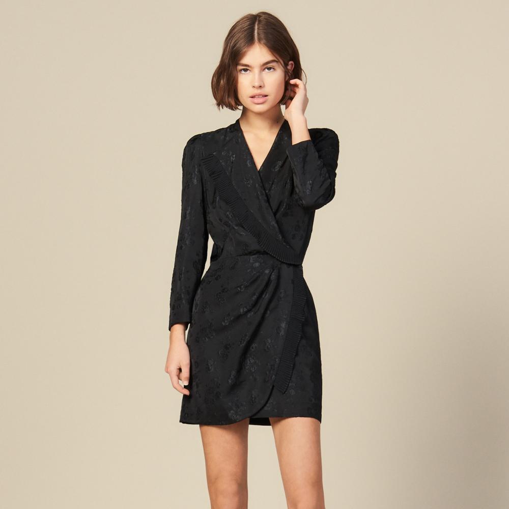 Jacquard Short Wraparound Dress Dresses Sandro Paris Wrap Around Dress Womens Dresses Dresses [ 1000 x 1000 Pixel ]