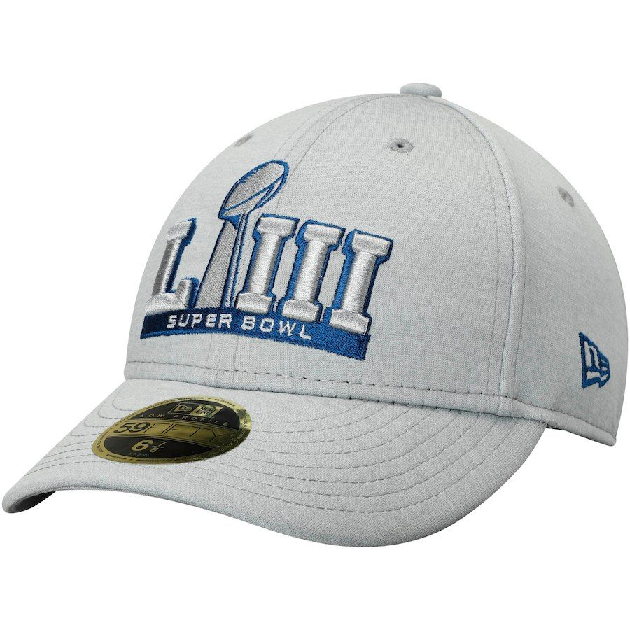 ab9cf4e39 Men s New Era Heathered Gray Super Bowl LIII Atlanta Basic Low Profile 59FIFTY  Fitted Hat