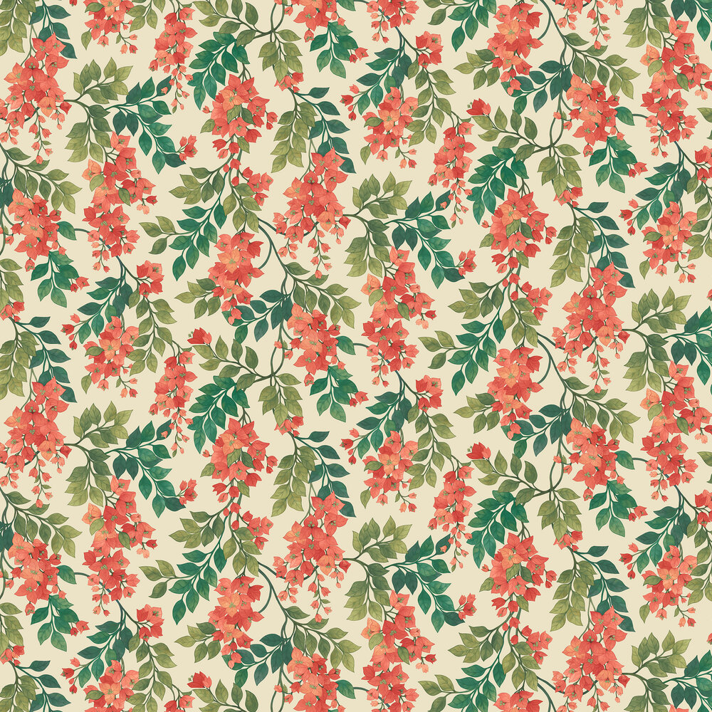 Bougainvillea by Cole & Son Rouge, Olive Green & Emerald
