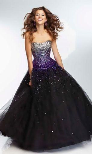 64793905464 Embellished By Ombre Purple Sequins Bodice Black Ball Gown
