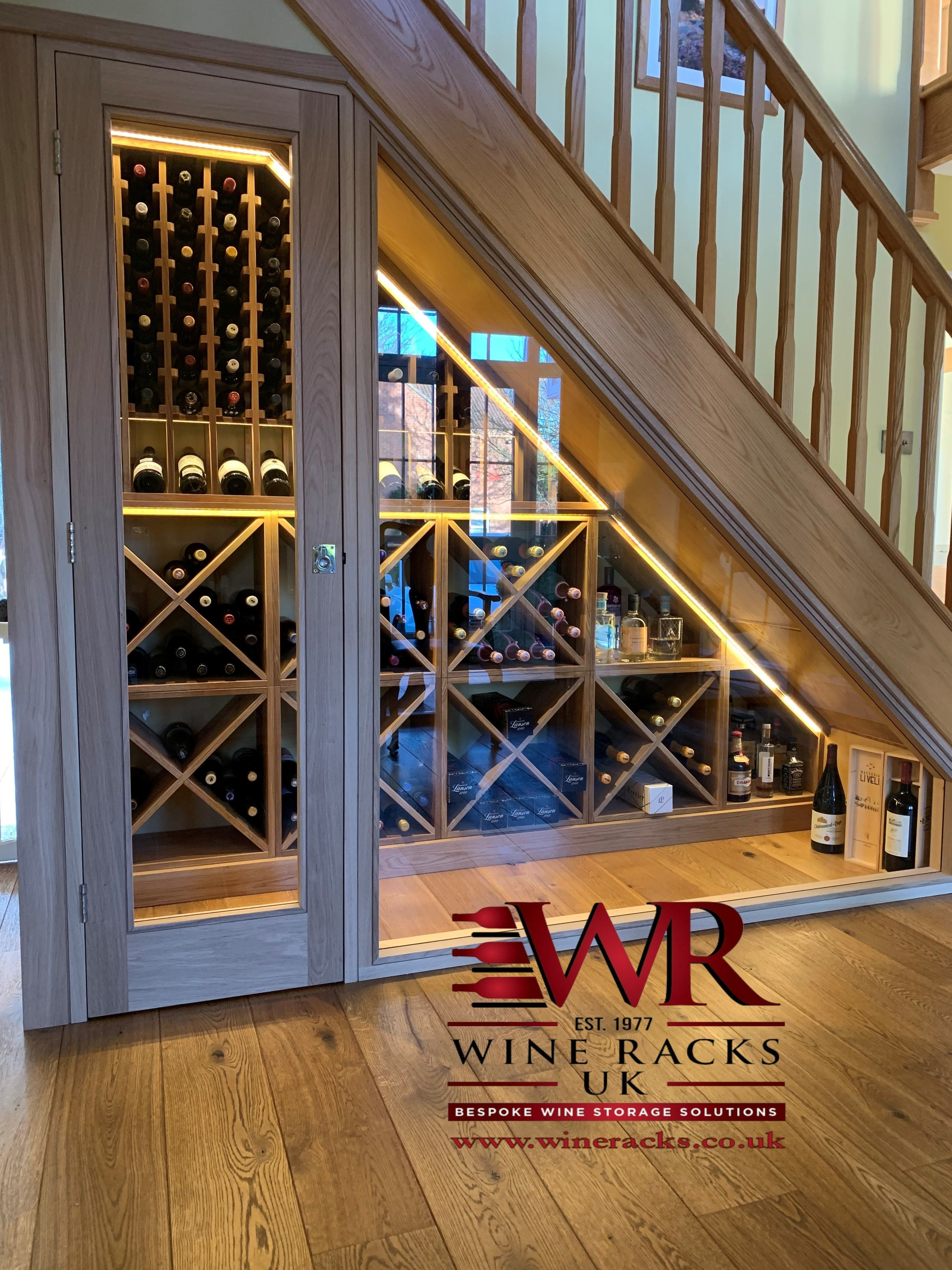Under Stairs Fitted Wine Storage With Wine Cubes And Display Racks