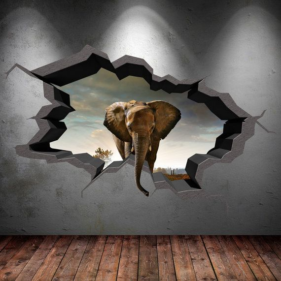 Sticker 3d Parete.Elephant Wall Decal Cracked 3d Wall Sticker Mural By