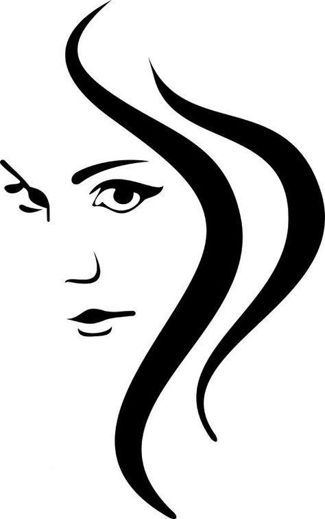 Face and hair vector | Symbols | Pinterest | Silhouetten, Malen und ...