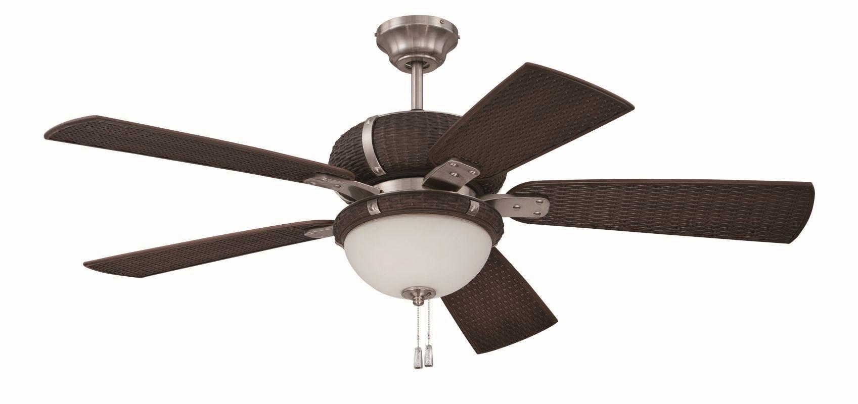 Craftmade La Playa 5 Blade Outdoor Ceiling Fan Blades And Light Kit Stainless Steel Dark Wicker Fans