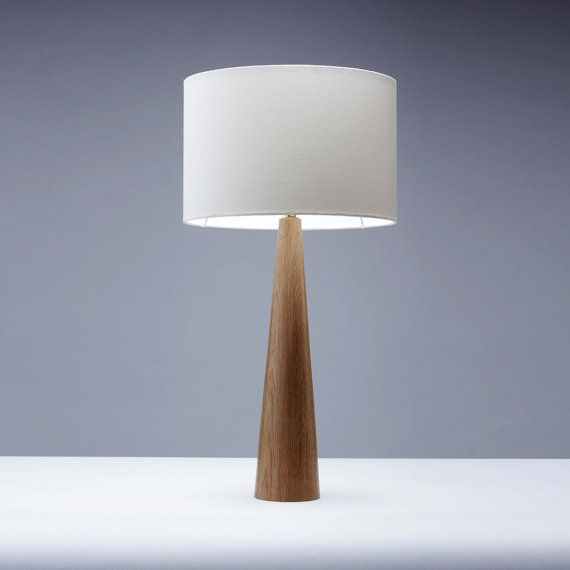 Oak wood table lamp Cone shape 61cm | Wooden table lamps, Wooden ...
