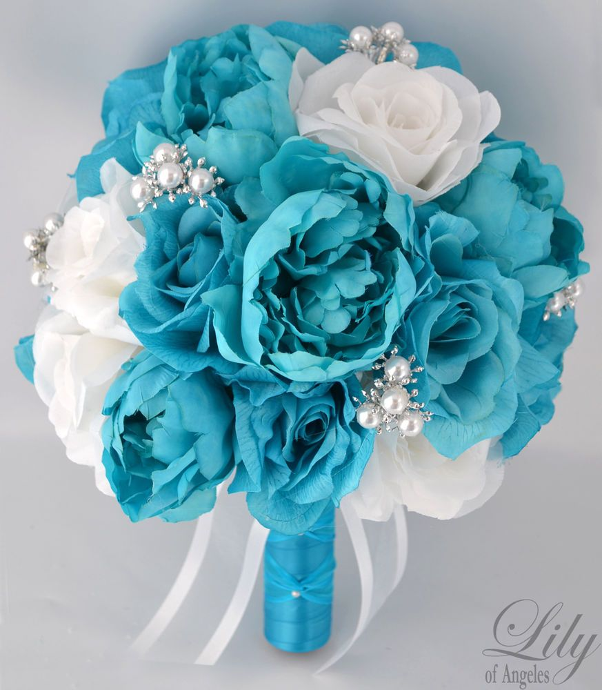 White and turquoise wedding dresses wedding bouquet pinterest white and turquoise wedding dresses turquoise wedding flowersturquoise weddingsturquoise bouquetteal dhlflorist Gallery