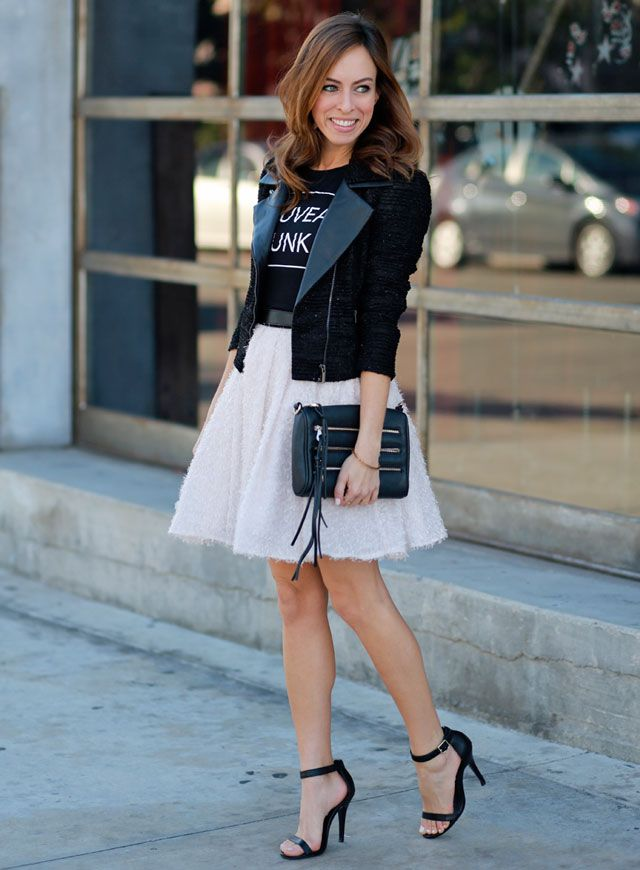 Sydne-Style-how-to-wear-a-bomber-jacket-glitter-skirt-black-and-pink-blush-justfab-clutch