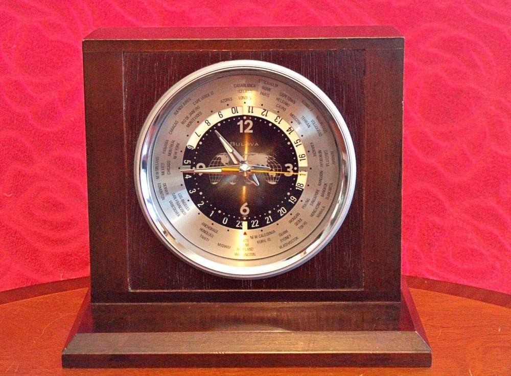 Vintage Bulova World Time Quartz Battery Powered Table Clock Japan Bulova Clock Antique Clocks Table Clock