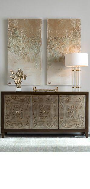 High end furniture. Modern sideboard. Gold tones