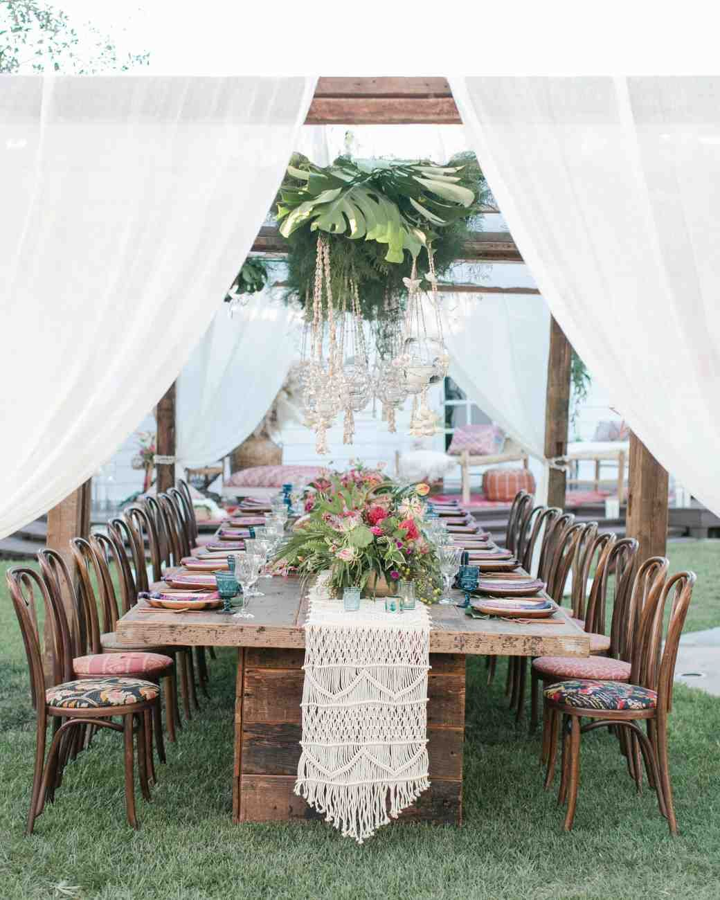 Bohemian Wedding Reception: An Island-Inspired, Backyard Wedding Anniversary Dinner
