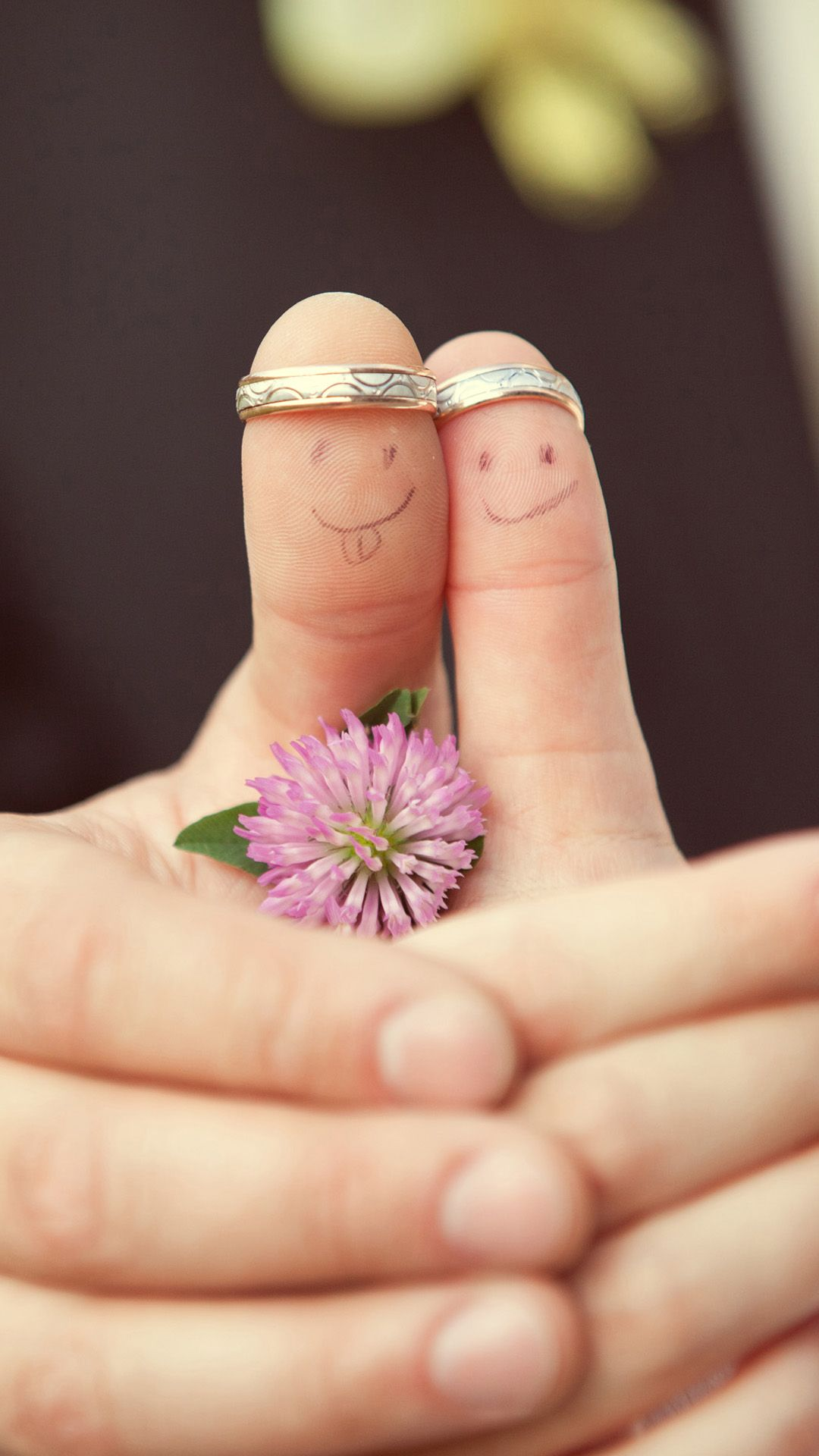 Romantic Couple Blurred Multicolored Family Marriage Rings