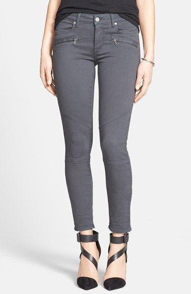 Paige Denim 'Liam' Moto Skinny Jeans (Stone Grey) (Nordstrom Exclusive) available at #Nordstrom