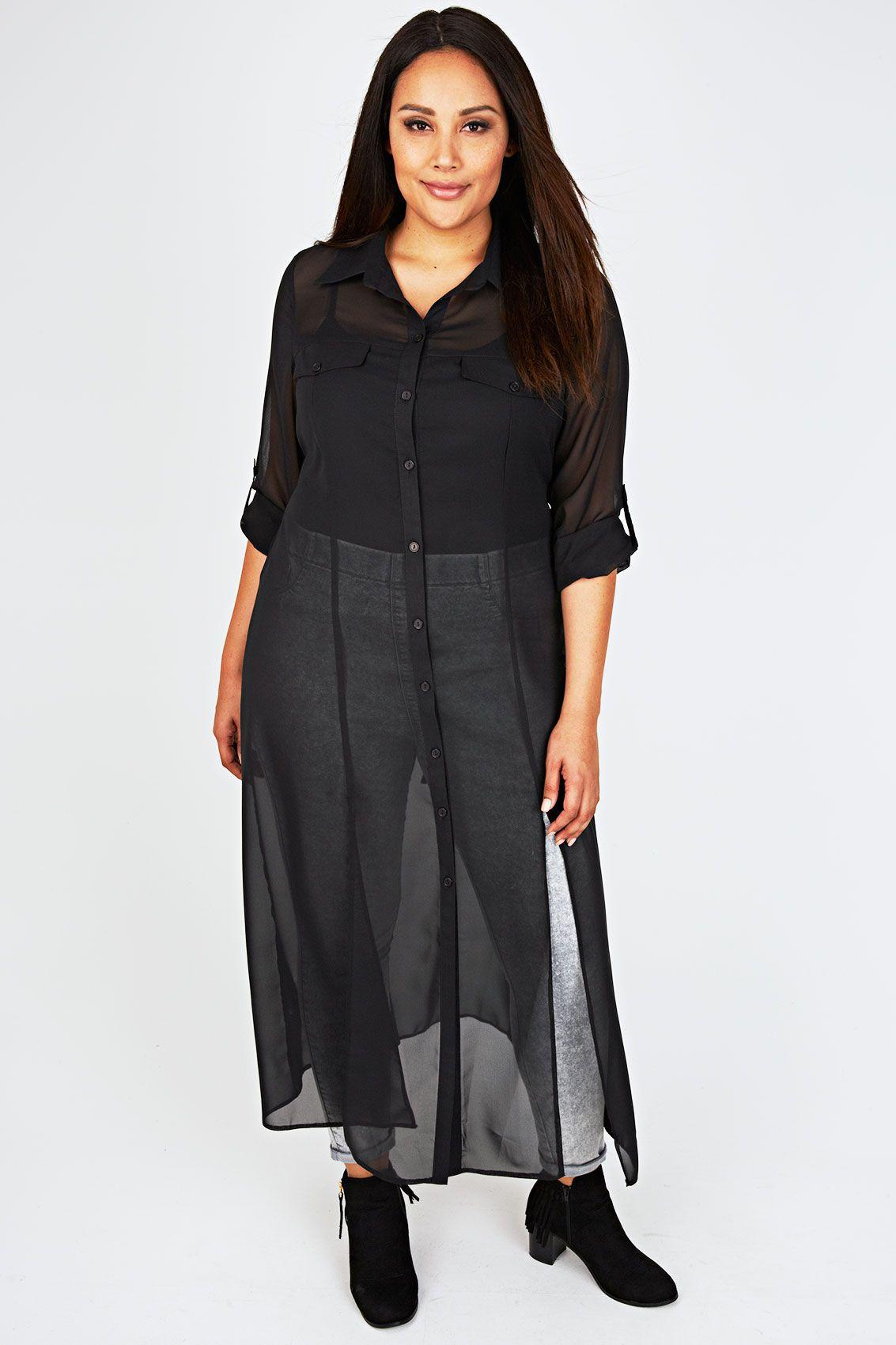 af533e6dd0a8 SCARLETT   JO Black Sheer Maxi Shirt Dress With Front Splits