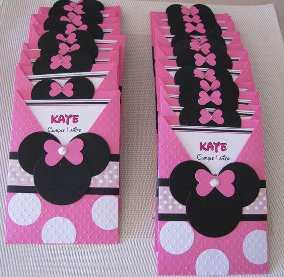 Tarjetas De Invitacion De Minnie Mouse Invitación De