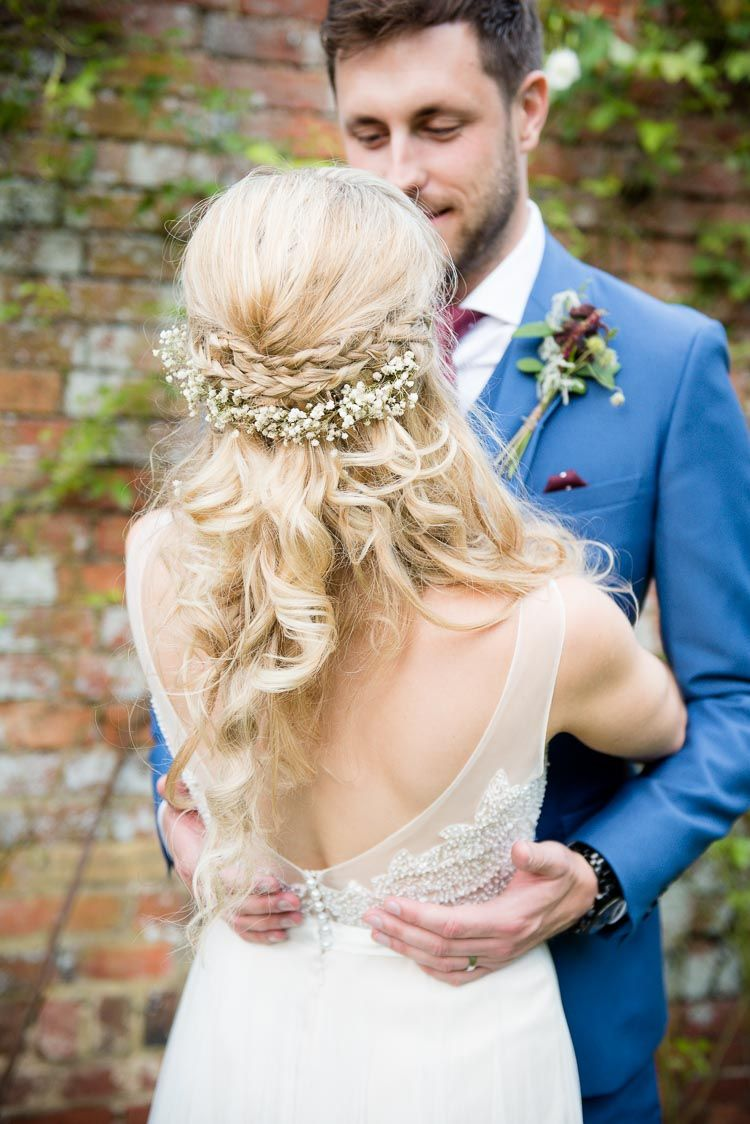 hair bride bridal style plait braid flowers waves boho pretty