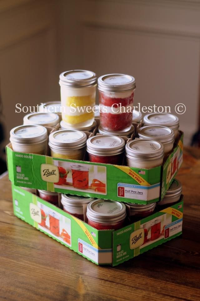 Lemon and Red Velvet mason jar gifts.  Perfect for a Southern wedding favor! www.facebook.com/southernsweetsbymegan