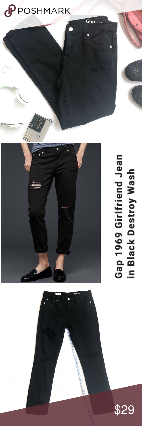 62109b56f64 NWOT GAP 1969 Black Destroy Wash Girlfriend Jeans NWOT GAP 1969 Black  Destroy Wash Girlfriend Jeans