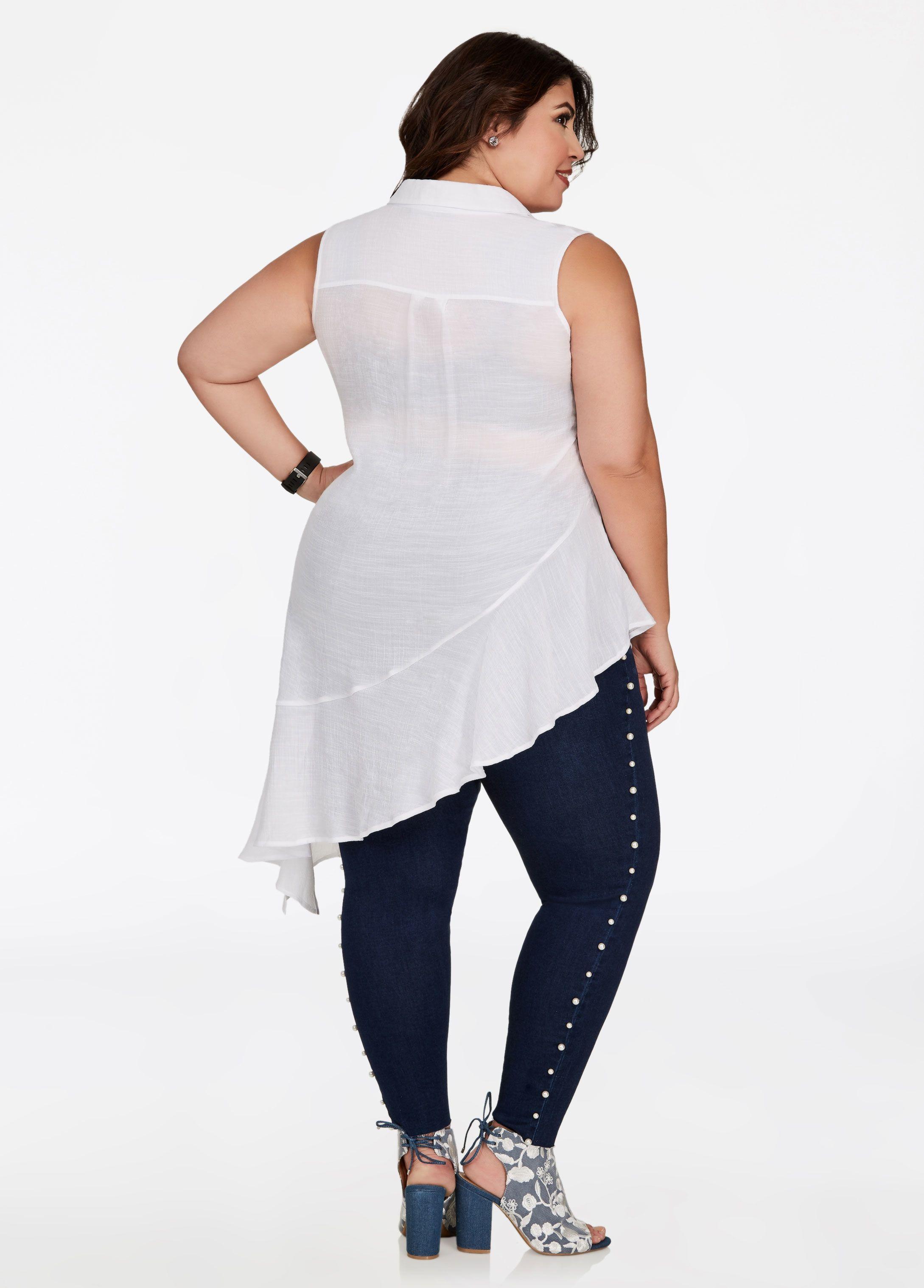 df0b13de Sleeveless Asymmetrical Top - Ashley Stewart. Sleeveless Asymmetrical Top -  Ashley Stewart Plus Size Peplum ...