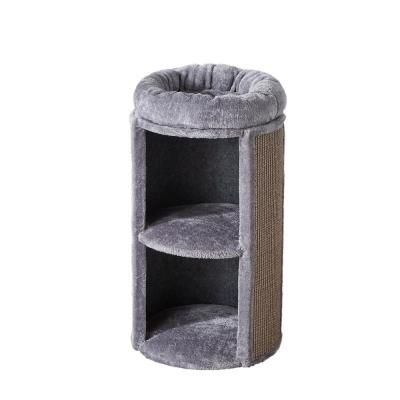 Two By Two Juniper 2 Level Cat Condo With Scratching Board Grey 10 The Home Depot Cat Condo Small Cat Furniture Two By Two