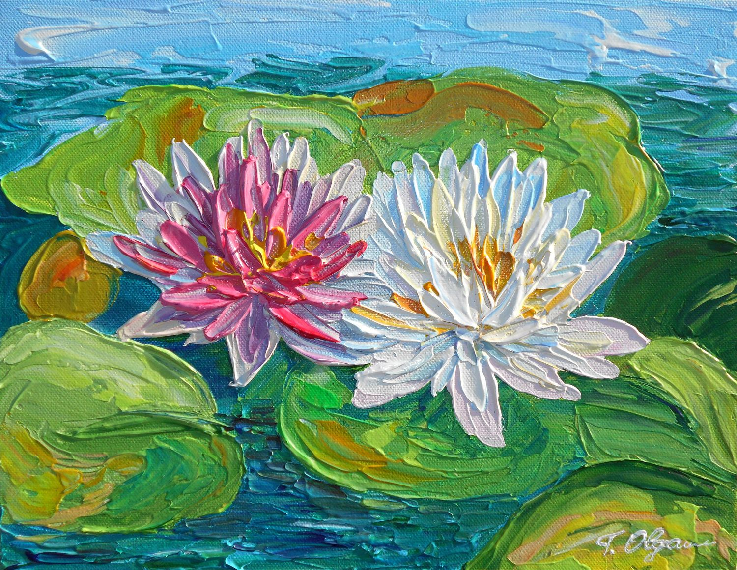 Flower painting original abstract acrylic canvas