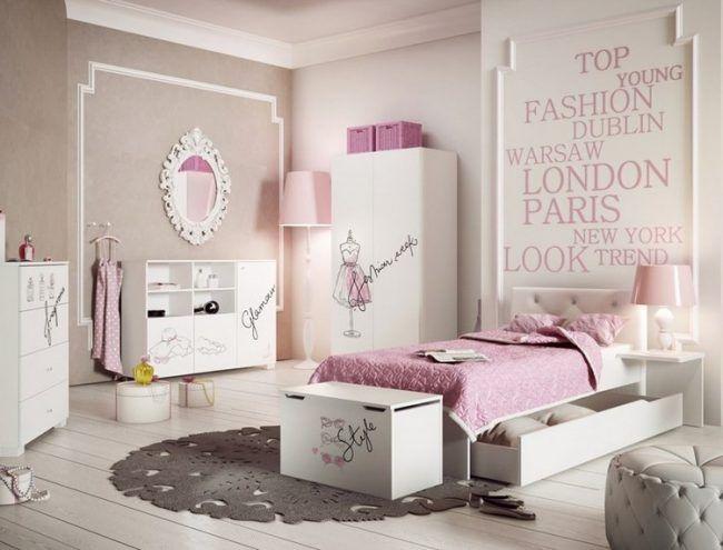 Kinderzimmer wandgestaltung ideen maedchen creme rosa for Kinderzimmer madchen rosa
