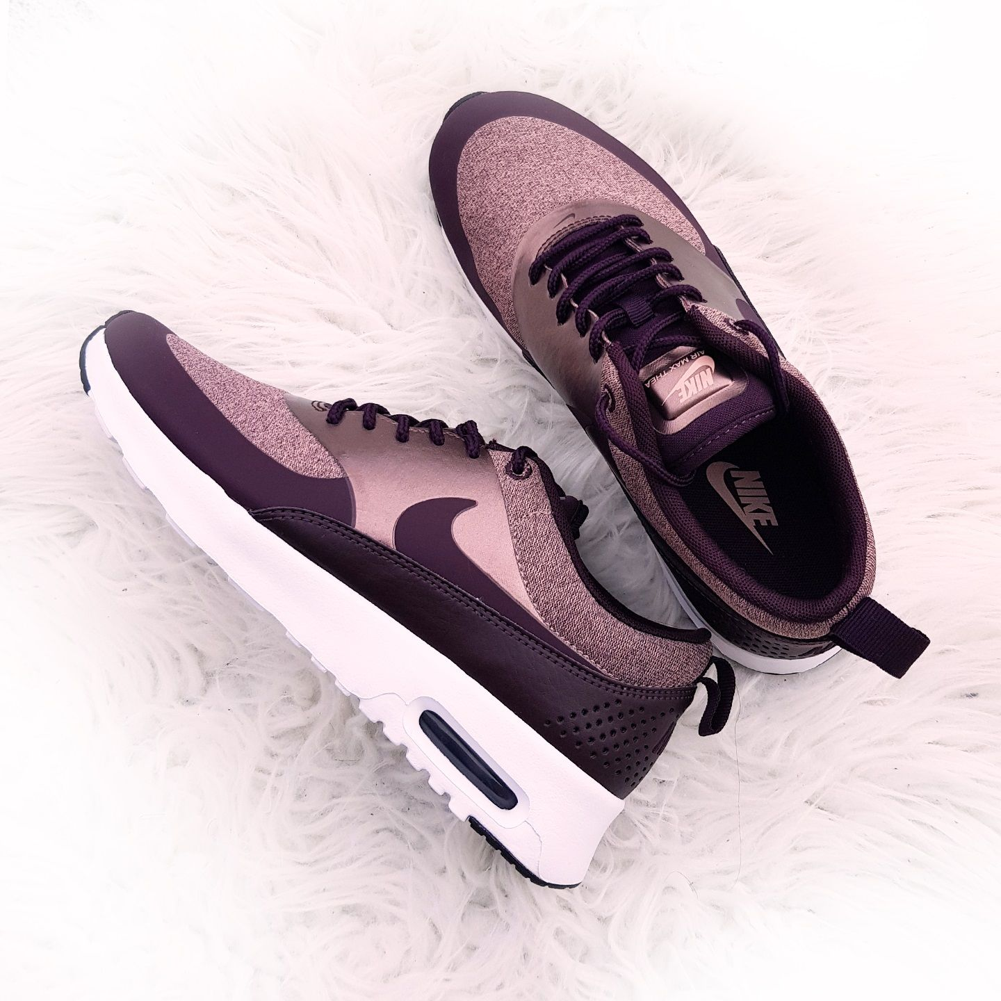 59d60fc3bc5655 Nike Air Max Thea Knit - Port Wine Particle Pink Schwarz Metallic Mahogany