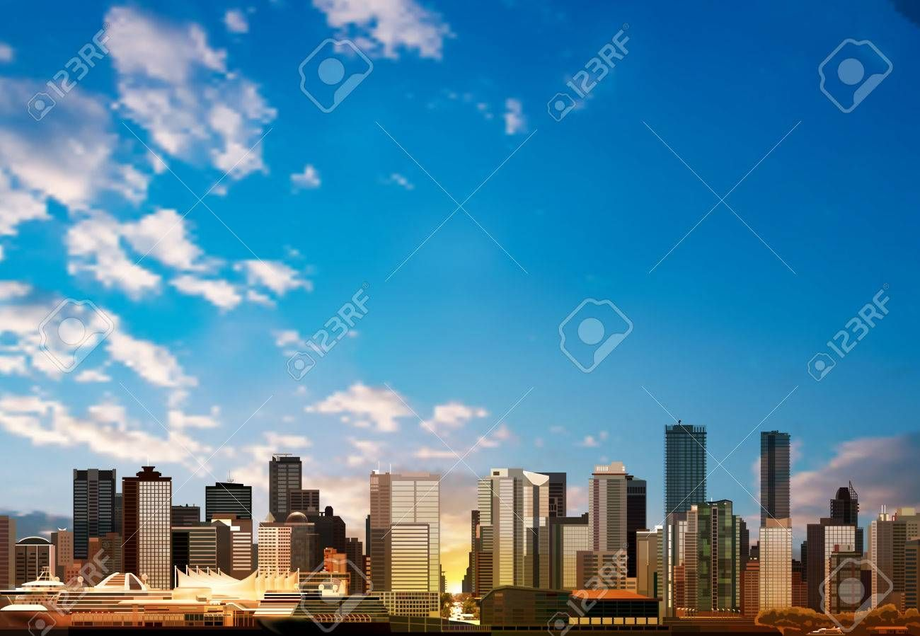 Abstract Vector Blue Sky Background With Panorama Of City Ad Blue Vector Abstract Sky City Blue Sky Background Skyline San Francisco Skyline