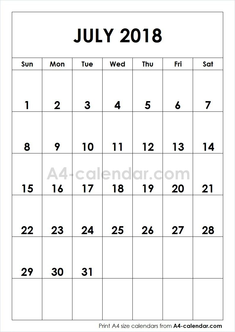 print free blank july 2018 a4 calendar from wwwa4 calendarcom this blog provides a4 size calendar for each month of the year weekly calendar yearly