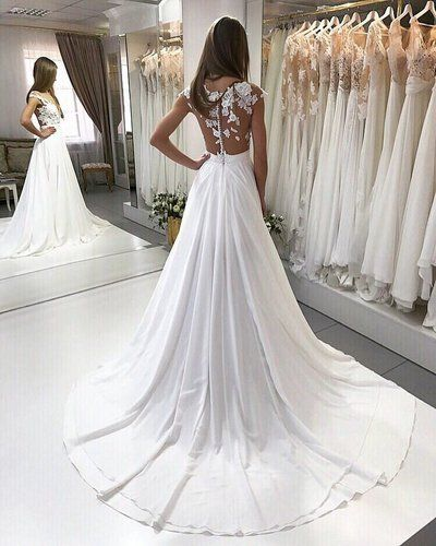 Chic Lace Liques Long Chiffon Beach Wedding Dress Jd 156