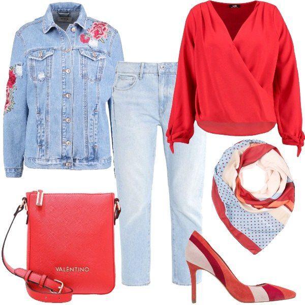 Da Jeans Rose Outfit Rosse Con Giacca Di Una Caratterizzato 5xHfHwAB