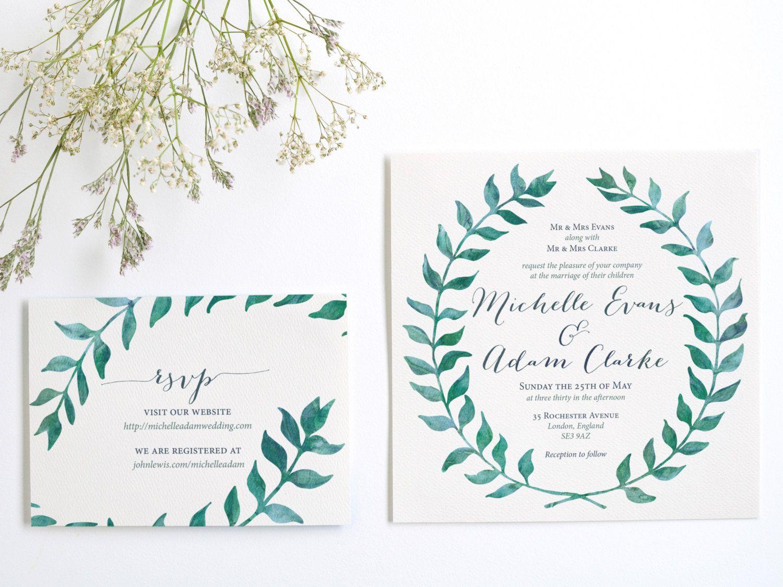 Watercolor leaves wreath wedding invitation suite digital watercolor leaves wreath wedding invitation suite digital template or printed invite available by designsac on stopboris Gallery