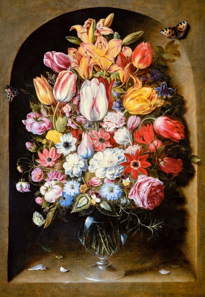 """Osias Beert (1580-1623) """"Bouquet in a Niche"""" Oil on panel Located in ..."""
