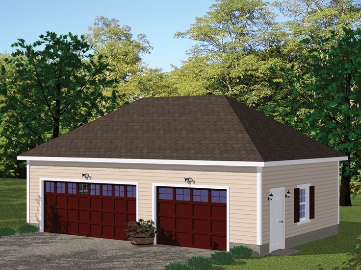 078g 0007 3 Car Garage Plan With Hip Roof Hip Roof 3 Car