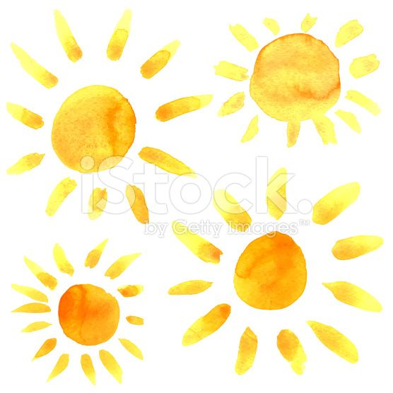 Watercolor Sun Icons Set Closeup Isolated On White Background