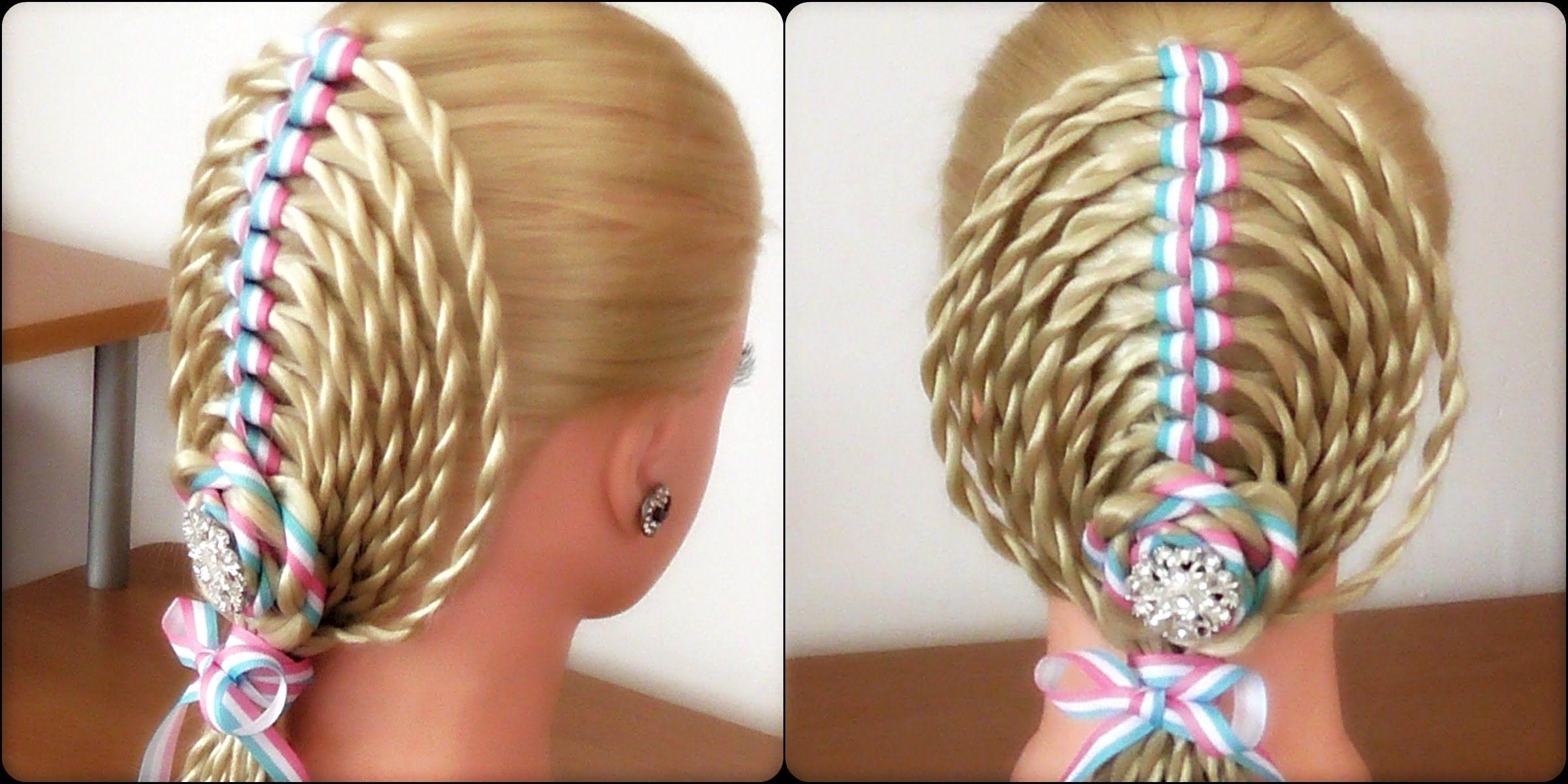 The Ribbon Twist Braid Hairstyle Hair Tutorial Hairglamour Peinados Con Cintas Videos De Peinados Peinados Para Ninas