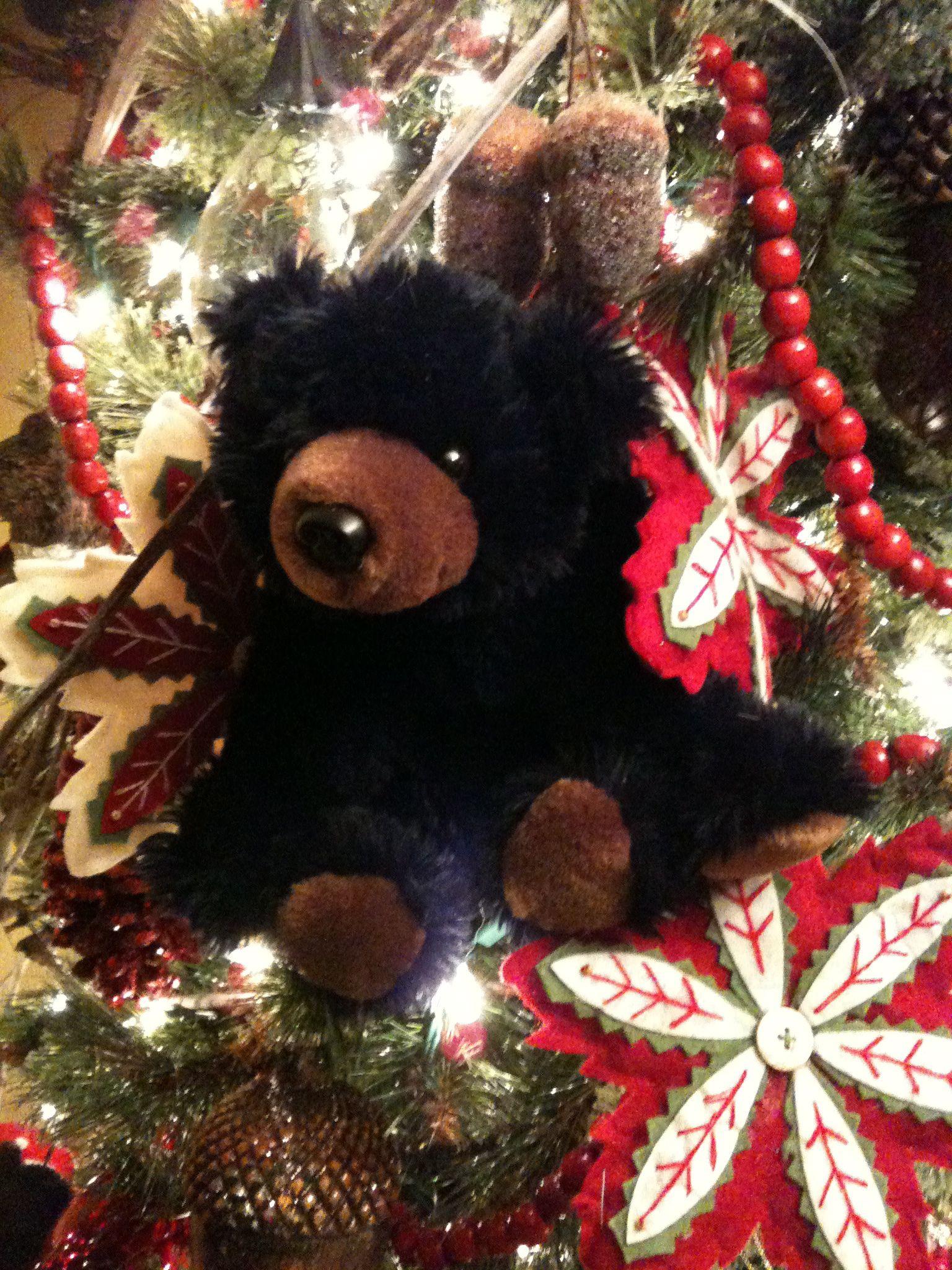 a black bear christmas tree christmas lodge christmas tree themes red christmas holiday - Black Bear Christmas Decor