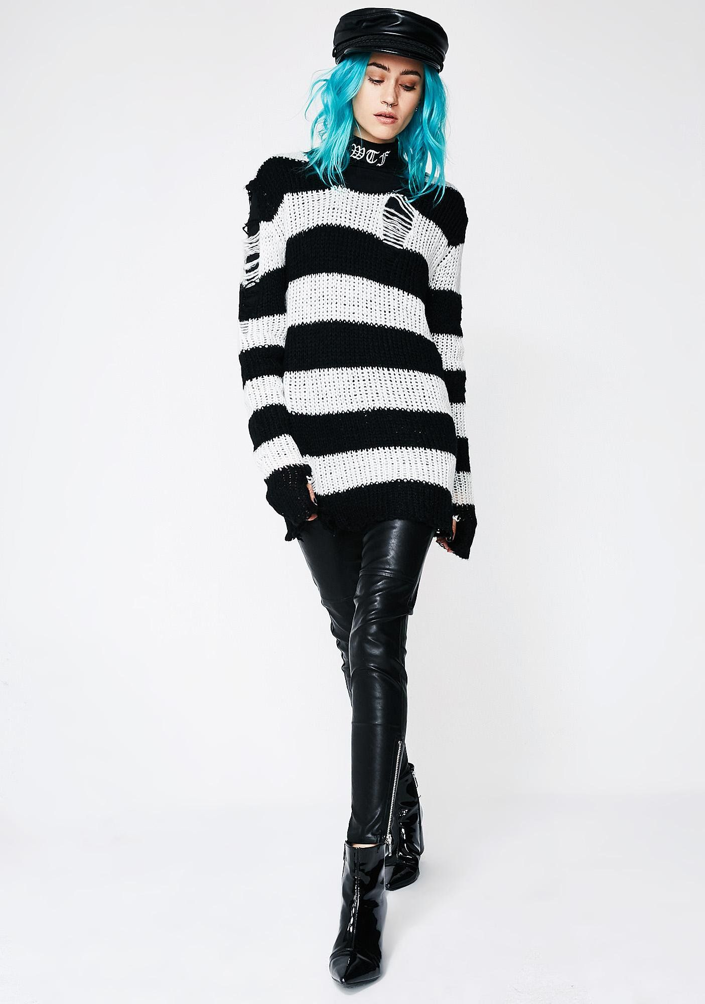 85eec3064893 Current Mood Icy Lost Cause Striped Sweater