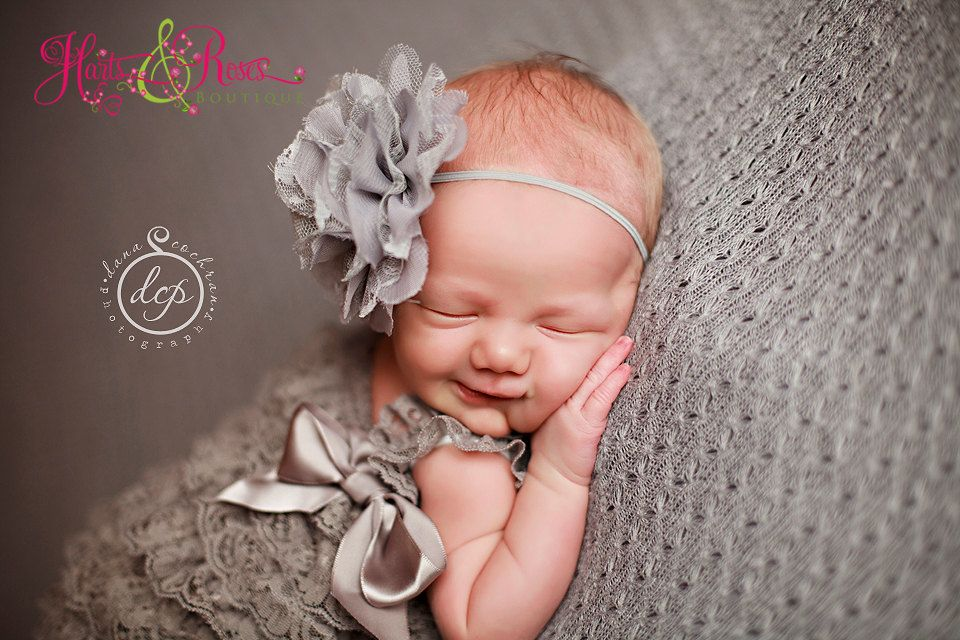 Newborn Headband,Baby Girl Headbands,Baby Headbands,Baby Headband, Grey Flower Headband..Newborn Headbands..Baby Bow Headband.Baby Girl by HartsandRoses on Etsy