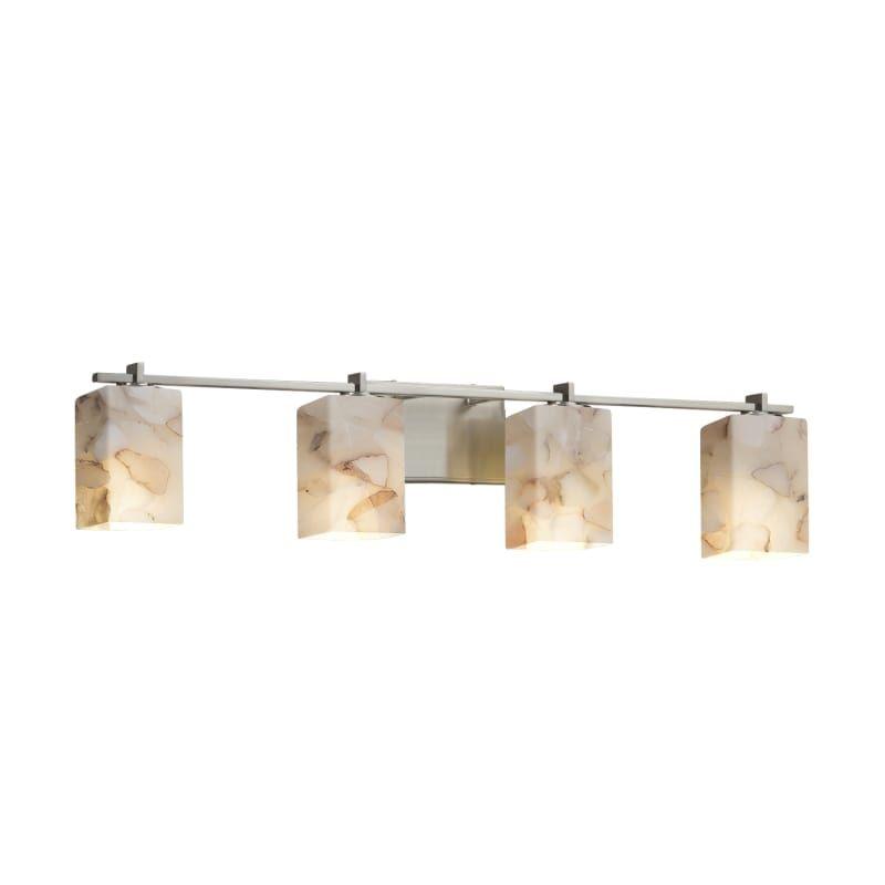 Photo of Justice Design Group ALR-8444-15-NCKL-LED4-2800 Brushed Nickel Alabaster Rocks Single Light 34-1/4″ Wide Integrated 3000K LED Bathroom Fixture with Shaved Alabaster Rock Cast Resin Shade
