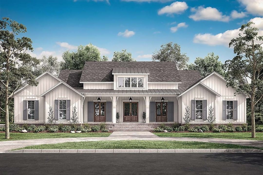 Family Home Plans On Instagram Familyhomeplans Com House Plan 51996 New 4 Bedroom Cou Farmhouse Style House Traditional House Plans Modern Farmhouse Plans