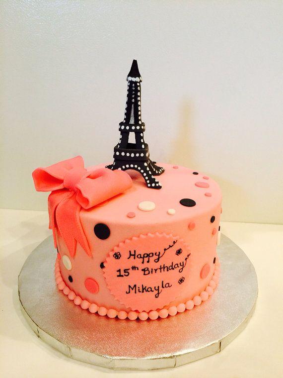 Comestible Eiffel torre cumpleaos pastel por CreativeCakesbyNilar