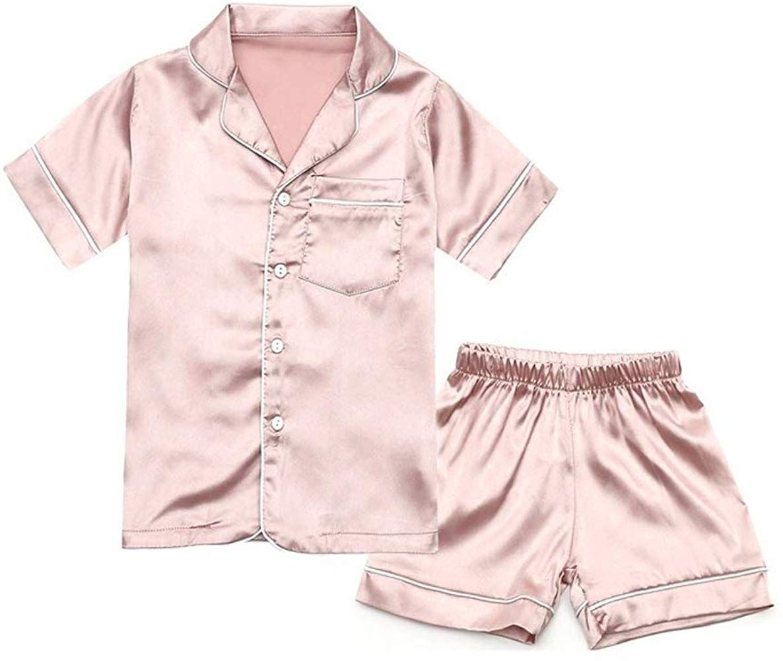 Nightwear Pajama Set 2Pc//Set Kid Girl Boy Summer Silk Satin Sleepwear Loungewear