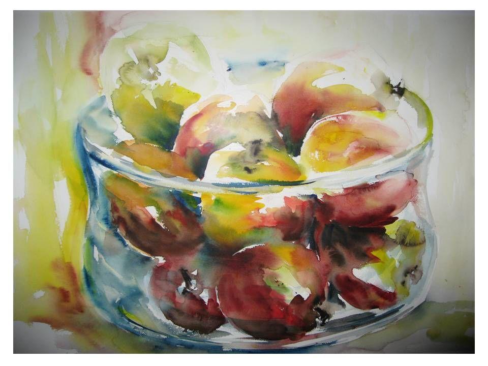 Appels in glazen schaal