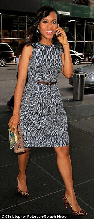 Not too Scandal-ous: Kerry Washington chose two more conservatively fitting frocks as she carried on the publicity trail on Thursday just ho...