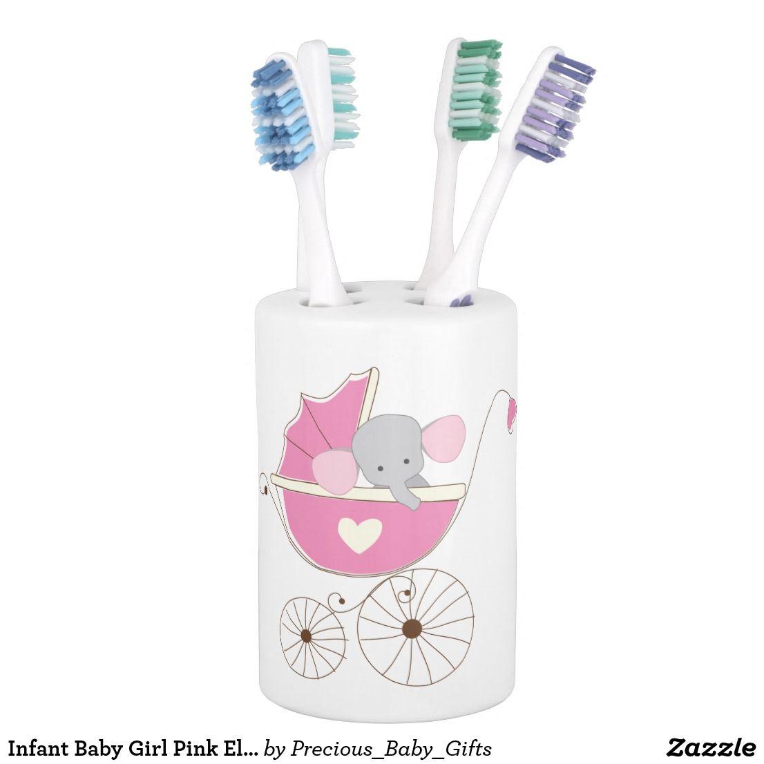 Infant Baby Girl Pink Elephant Bathroom Set | Bath Accessory Sets ...
