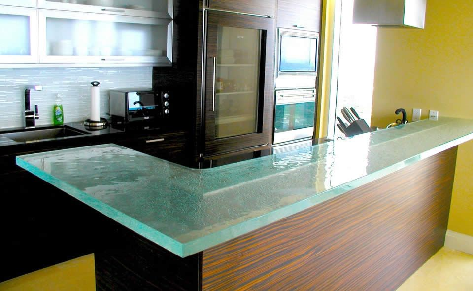 Minimalist Kitchen With Tempered Glass Design Countertops Frosted