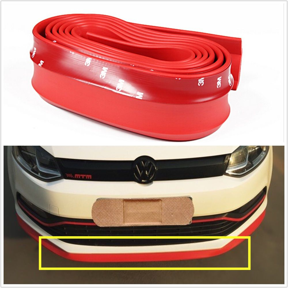 2 5m Universal Red Rubber Car Front Bumper Quick Lip Splitter Protector Body Kit Body Kit Car Front Red Car [ 1000 x 1000 Pixel ]