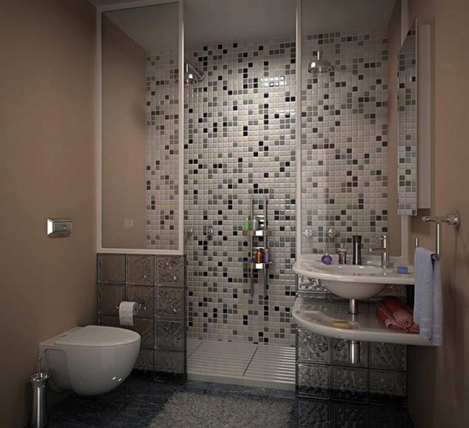 bathroom tiles designs for small spaces. Bathroom design ideas for small spaces featuring modern clear glass shower  window and interesting black