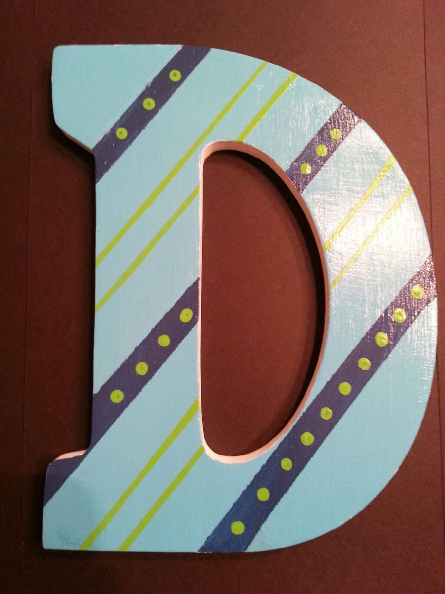 Painted Wooden Letter D