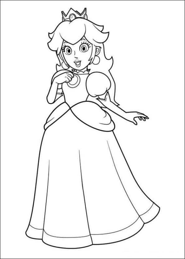 Kleurplaten Prinses Peach.Free Printable Coloring Page Princess Peach Super Mario Mario